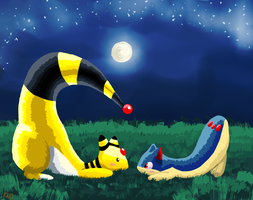 ampharos and quilava by cartoonboyplz