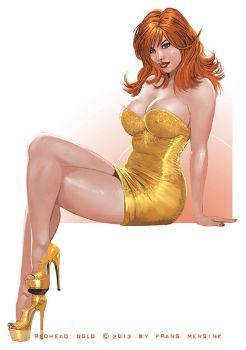 Redhead and gold by FransMensinkArtist