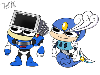 Dust man and Splash woma in pelo style by TorchicZK