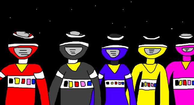 The Power Rangers Members in Outer Space by MikeEddyAdmirer89
