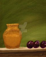 Brass and Plums- Still Life1 by JosephJODonnell
