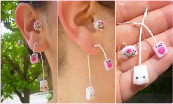 Kawaii tea bag ear cuff by Bojo-Bijoux