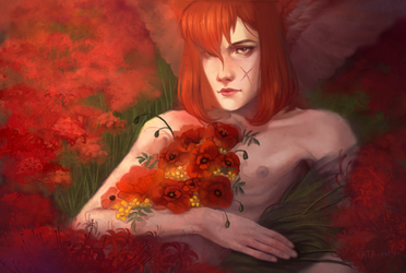 Buried in flowers by NATAnatfan