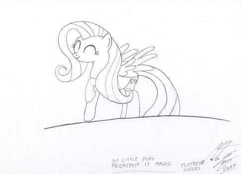 Fluttershy cheers by MortenEng21