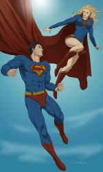 Commish:Superman and Supergirl by doubleleaf