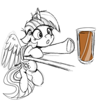 Book Horse and Choco Milk Sketch by WitchTaunter