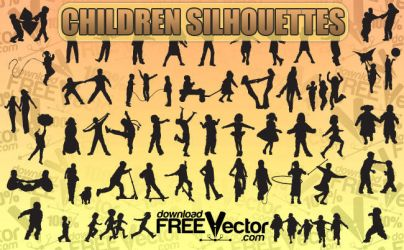 Children Silhouettes by downloadfreevector