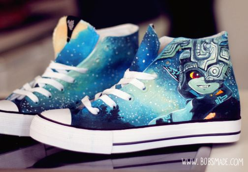 Link and Midna on twilight princess shoes by Bobsmade