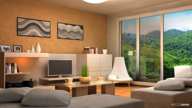 3D house Interior by wdssanjeewa