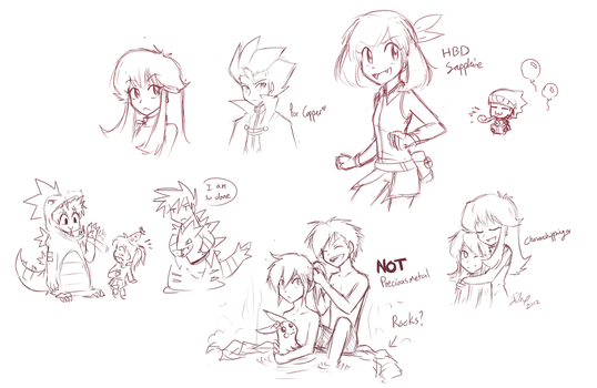 Some livestream doodles by firehorse6