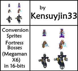 Conversion Sprites Fortress Bosses MegaMan X6 by kensuyjin33