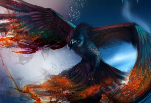 Colorful Raven by Eludor