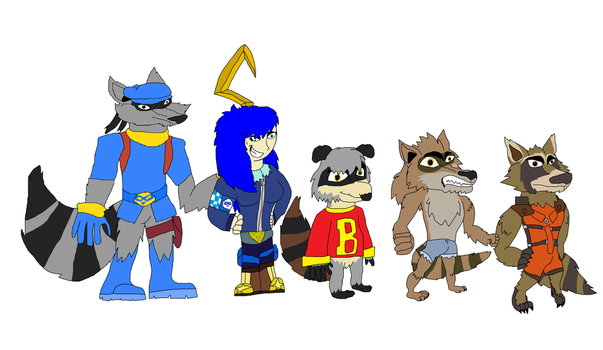 Me And Some Raccoon Friends Of Mine by Perithefox10