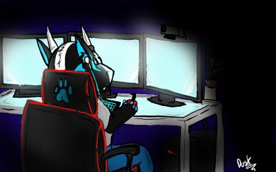 Gaming by neonhelldragon