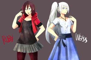 Ruby and Weiss Casual Attaire by UntoldMage