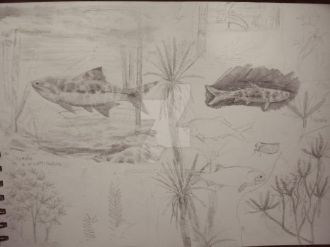Triassic fish sketches by Lucas-Attwell
