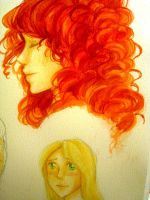 Watercolor practice - Merida and Punzie by KikiKinchester
