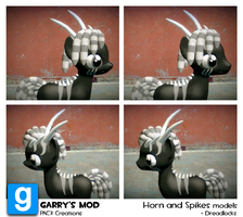 PAC3 | MLP| Horns and spikes model + Dreadlocks by ElectedPony