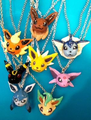 Pokemon Necklaces: Eevee and the Eeveeloutions by GirtasticSpaz