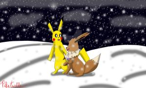 :Gift: A Snowy Night with an Angel by Pikaturtle
