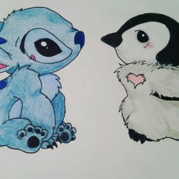 stitch and pengu by artisticpenguins