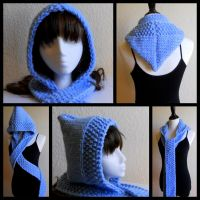 Blue Hooded Scarf by StrangeKnits