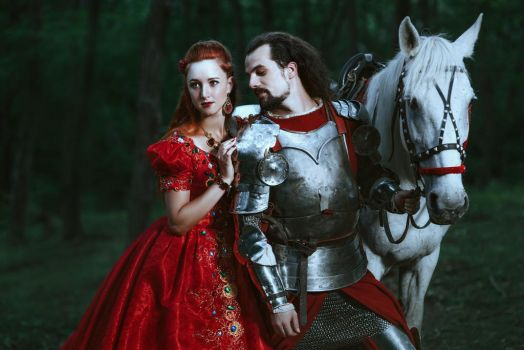Medieval knight with his beloved lady in red dress by Black-Bl00d