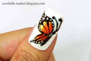 Hand Painted Butterfly Nail Art Design by everbella
