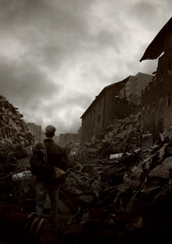 A man with his rifle in a destroyed city by Knightari