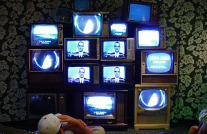 wall of vintage tvs by objekt-stock