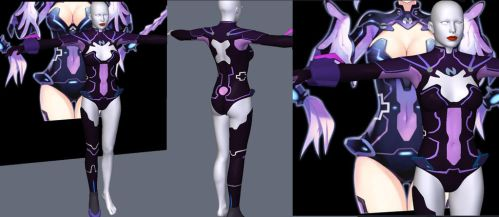 HyperNeptunia costume for V4 preview by Terrymcg