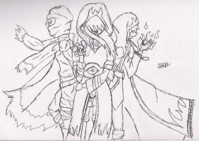 The Assassin Trio (Sketch) by CalixtoCapricorn