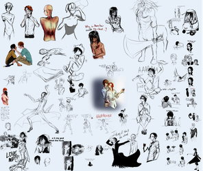 Sketchdump 5- Almost all of this is Bungou stuff by DracoTempest