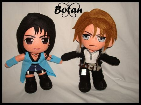 chibi Squall and Rinoa plush version by Momoiro-Botan
