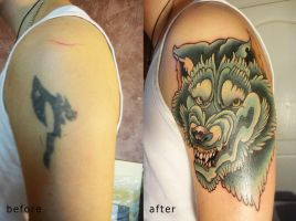 cover up tattoo Wolf by Xenija88