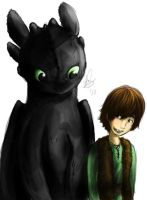 Hiccup and Toothless by MajorSquirrels