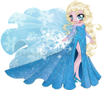 Elsa the Snow Queen - Chibi Commission by YamPuff