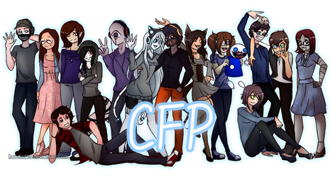 CREEPYFROZENPASTA CAST GROUP PIC by Hooded13