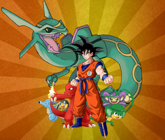 Adult Goku with Pokemon