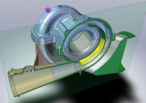 Oil pump CAD model section by car2ner