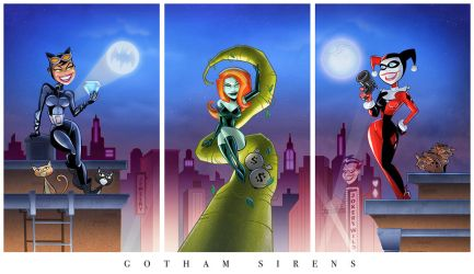 Gotham Girls Triptych (complete) by BillWalko