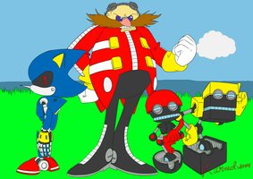 Eggman, Metal Sonic, Orbot and Cubot by Karneolienne