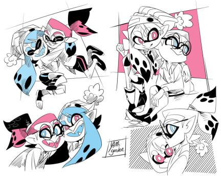 Splatoon - Inky and Inked - Doodles- 01 by YAMsgarden