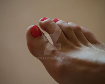 Madeleine's Pink Toes Close Up by Feetatjoes