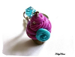 Berry Blue Cupcake Keychain by Cateaclysmic