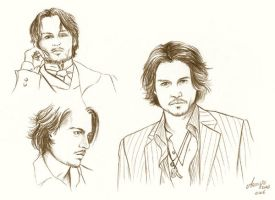 Johnny Depp doodles by mary-dab