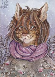 ACEO for Diaminerre - Snow rose by MiriElzar