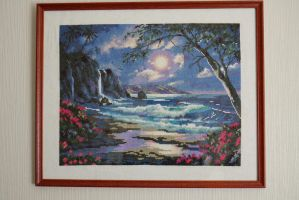 Cross-stitch sea framed by EstonianBeads