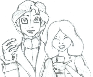 Sketch: Human Grant and Elise by SarahGoodwill