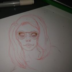 Wip of freckles - green hair and glasses by Aderian01